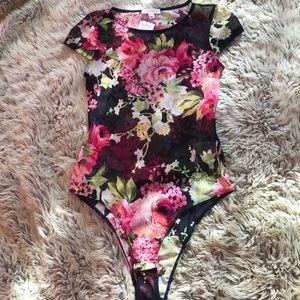 Snap bottom see through floral  bodysuit